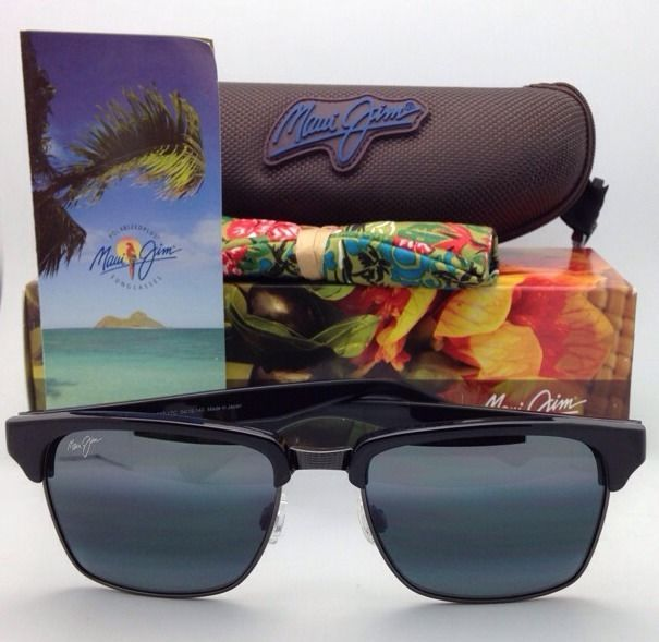 New MAUI JIM Sunglasses KAWIKA MJ 257-17C Black & Pewter w/Polarized Grey lenses