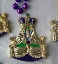 "Mardi Gras Beads Necklace King Bacchus Plastic 40"" Strand Green Purple Gold Bead"
