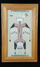 Native American Sandpainting Thunderbird Thunder Bird L Johnson framed s... - $33.87