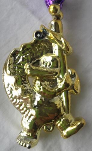 "Mardi Gras Beads Necklace LA Alligator Plastic 40"" Strand Green Purple Gold Bead"