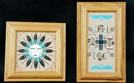 Native American Sandpainting 2 Small Pictures  - $19.35