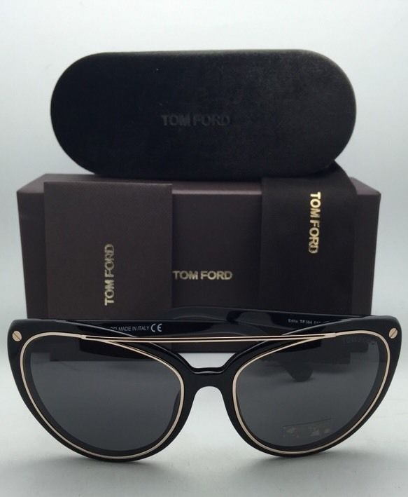 4ed62e0079525 New TOM FORD Sunglasses EDITA TF 384 01A 58-18 Black   Gold Frames w