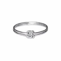 Silver Interlocking Knot Ring, 925 Sterling Double Linked Love Knot Jewelry - £9.13 GBP