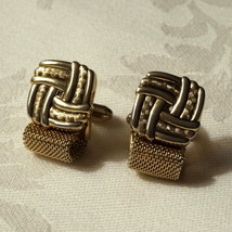 Mens Vintage Swank 50s Gold Plated Braided Mesh Cufflinks Cuff Links  - $35.00