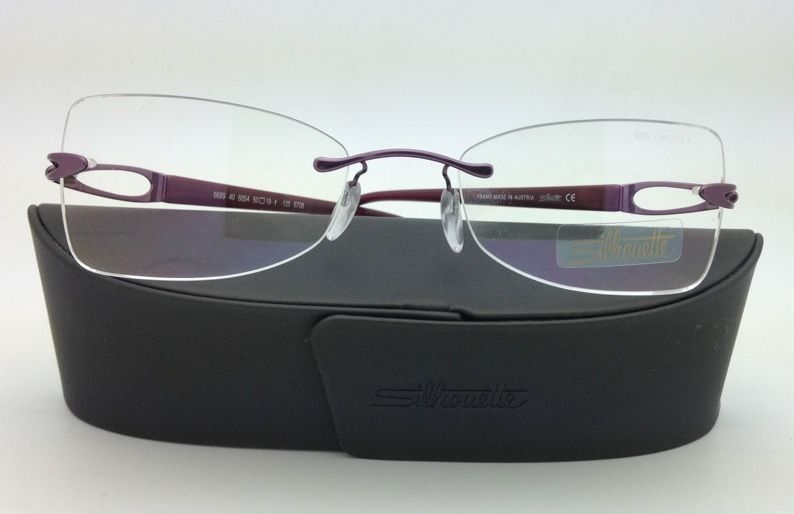 New SILHOUETTE Eyeglasses 6689 6054 50-19 Purple w/ Clear Demo lenses