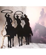 Large Metal Cut-Out of 3 Cowboy Silhouette Wall Sign Plaque - $17.81