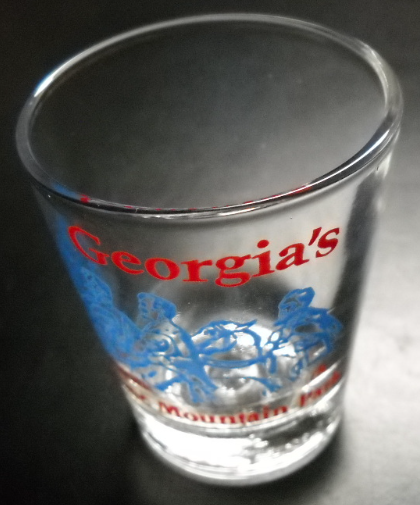 Georgia Stone Mountain Park Shot Glass Red and Blue Ilustration on Clear Glass