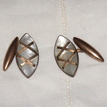 Vintage Art Deco Fancy Inlaid Mother of Pearl Cufflinks Cuff Links - $45.00