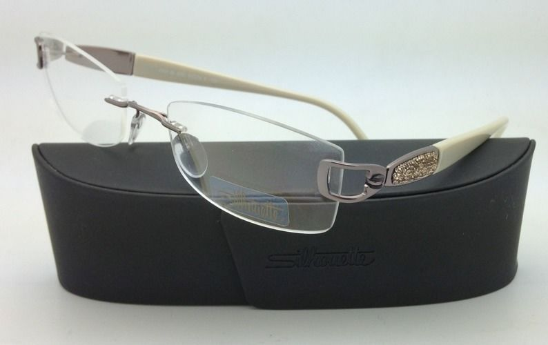 New Jeweled SILHOUETTE Eyeglasses 6760 6052 51-18 Ivory & Pewter w/ Clear lenses