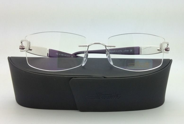 New Jeweled SILHOUETTE Eyeglasses 6762 6050 50-18 Silver & Purple w/Clear lenses