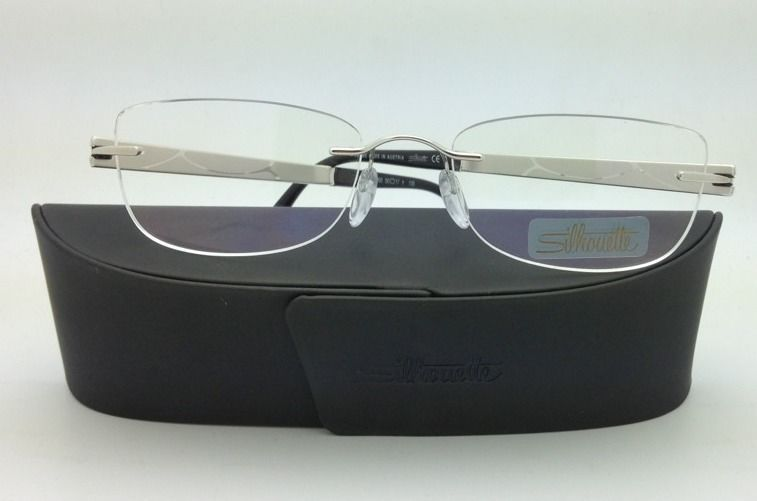New Jeweled SILHOUETTE Eyeglasses 4231 6050 50-17 Silver & Ivory w/ Clear lenses
