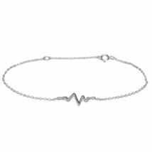 Silver Heartbeat Chain Bracelet, Solid 925 Sterling Silver Bracelet, Gif... - $12.50