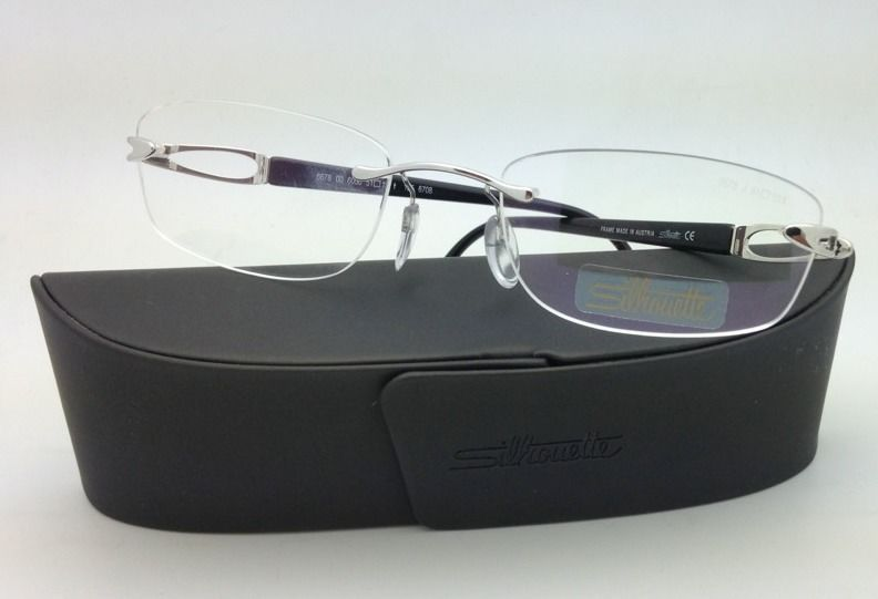 New SILHOUETTE Eyeglasses 6678 6050 51-19 Black & Silver w/ Clear Demo lenses