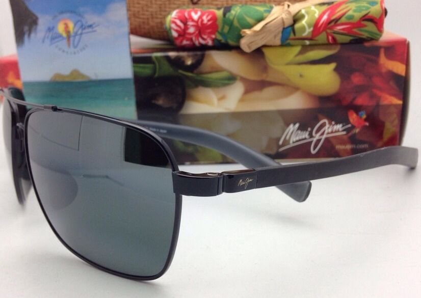 9b9db7c9941 New MAUI JIM Polarized Sunglasses FREIGHT TRAIN MJ 326-02 Gunmetal Aviator   Grey