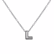 """Silver L Pendant Necklace, 925 Sterling Silver Initial """"L"""" Letter Charm ... - $17.50"""