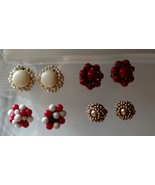Vintage Jewelry Clip on Earrings Gold tone and Cluster Beads Lot of Four... - $9.99