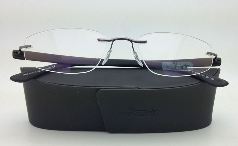 New SILHOUETTE Eyeglasses ENVISO 7644 6059 56-21 Brilliant Black w/ Clear lenses