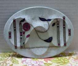Vintage Three Spoon Art Nouveau Look Spoon Rest Marbled Ceramic Spoon Rest - $10.00