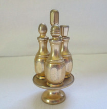 24 kt Gold Plate 4pc Mini Vanity or Table Set Perfumes Bottles & Caddy - $200.00