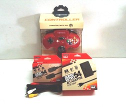 NEW RED CONTROLLER JOYSTICK FOR N64 NINTENDO 64 + A/C ADAPTER + A/V + EX... - $29.95