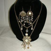 Vintage Asymmetrical Freshwater Pearl Filigree Festoon Necklace Earrings... - $163.99