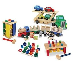 Melissa and Doug Wooden Toys Bundle (Sequence Shape Sorting, Pound& Roll Towe... - $97.96