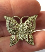Vintage Silver Tone & Rhinestones Butterfly Lapel Tack Pin - $4.99