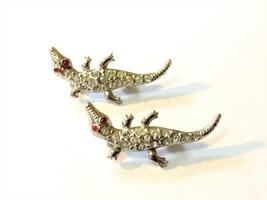 Vintage Twin Figural Aligator Pins Brooch Set Rhinestones Silver Tone - $21.28