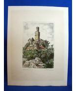 Etching of Marksburg Castle (Rhineland) by German Artist W. Reiter Unframed - $9.89