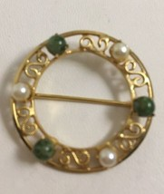 Vintage Burt Cassel 12K Gold Filled Moss Agate Pearl Circle Pin Filigree... - $19.28