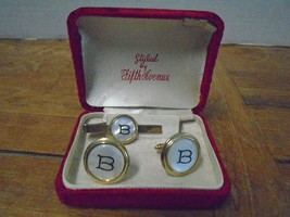 Vintage Cuff Links Tie Clip Fifth Avenue Styled Initial B Pearl Face Gol... - $31.53