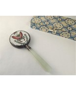 Chinese Butterfly ornate Silver Hand Mirror Vin... - $53.46