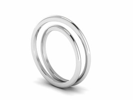 Dual Band Solid 925 Sterling Silver White Gold Rhodium Women Wedding Sta... - $3.92
