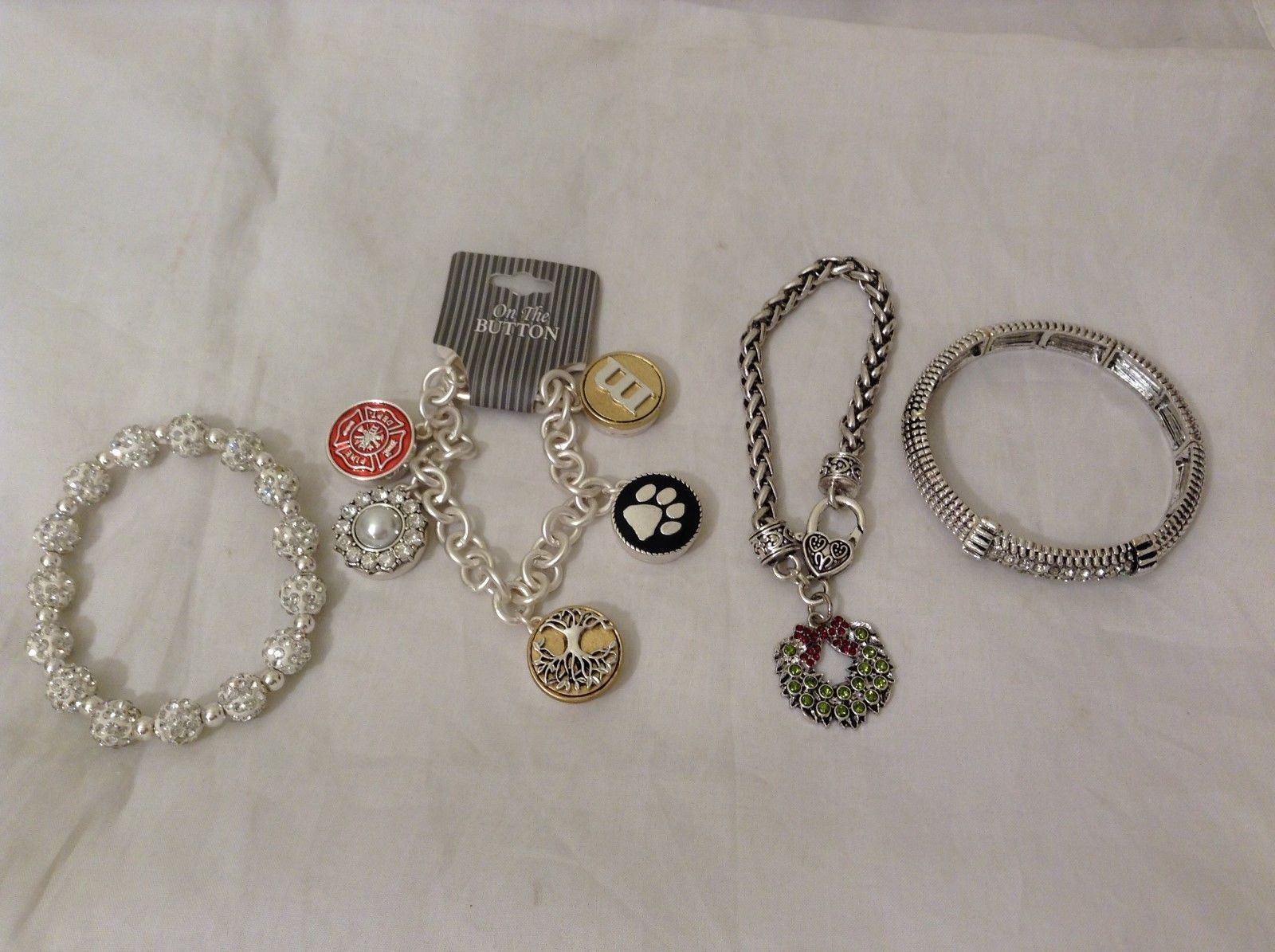 4 New Various Festive Bracelets in Silver Color