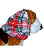 Red Green Black Diagonal Plaid Fleece Dog Snood by Howlin Hounds Size Large - $12.50