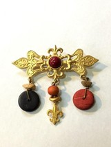 Vintage 1980's Gold Tone Fleur De Lis Bar Brooch Pin w/ Dangles 1928 ? - $19.33