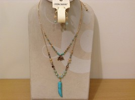 Crystal Couture Double Chain Beaded Elephant Necklace Earring Faux Turquoise Set