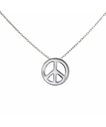Silver Peace Sign Necklace, Solid 925 Sterling Silver Peace Symbol Jewelry - $14.00
