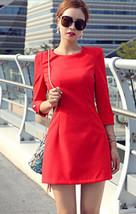 PF021 Elegant long sleeve mini dress, cotton blend, Size s,-l, red - $28.00