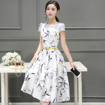 PF022 Elegant long sleeve long dress, water color printing Size s-2xl, - $25.00
