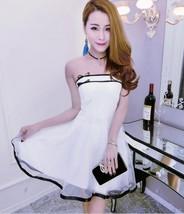 pf128 Sexy elegant open shoulder swing dress w mesh trim, free size - $28.80