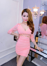 pf096 deep V-bust slim & sly A-LINE dress, free size, pink - $18.80