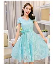 PF023 Elegant A-line lace mid length dress Size s-3xl, blue - $25.00