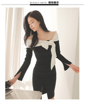 pf193 Sexy elegant off-shoulder med-length dress with bowtie, size s,m,l,xl - $32.80