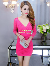 pf096 deep V-bust slim & sly A-LINE dress, free size, rosary red - $18.80