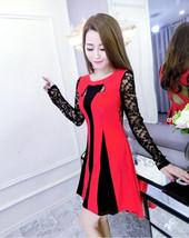 pf129 Sexy elegant long sleeve strip mini dress, free size - $28.80