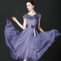 PF152 Sexy solid color swing long dress, round collar size s-4xl - $38.80