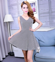 pf132 Sexy strippy mini dress, deep bust, free size - $28.80
