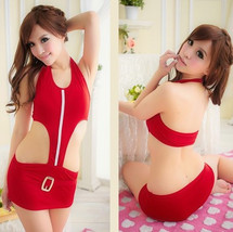 541L048 Sexy neck halter car model teddy, free size, red - $12.80+