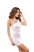 pf181 Sexy stunning single shoulder mini dress institched w floral alce, free si - $22.80